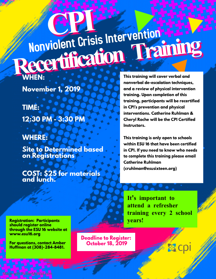 CPI REFRESHER TRAINING! November 1s!