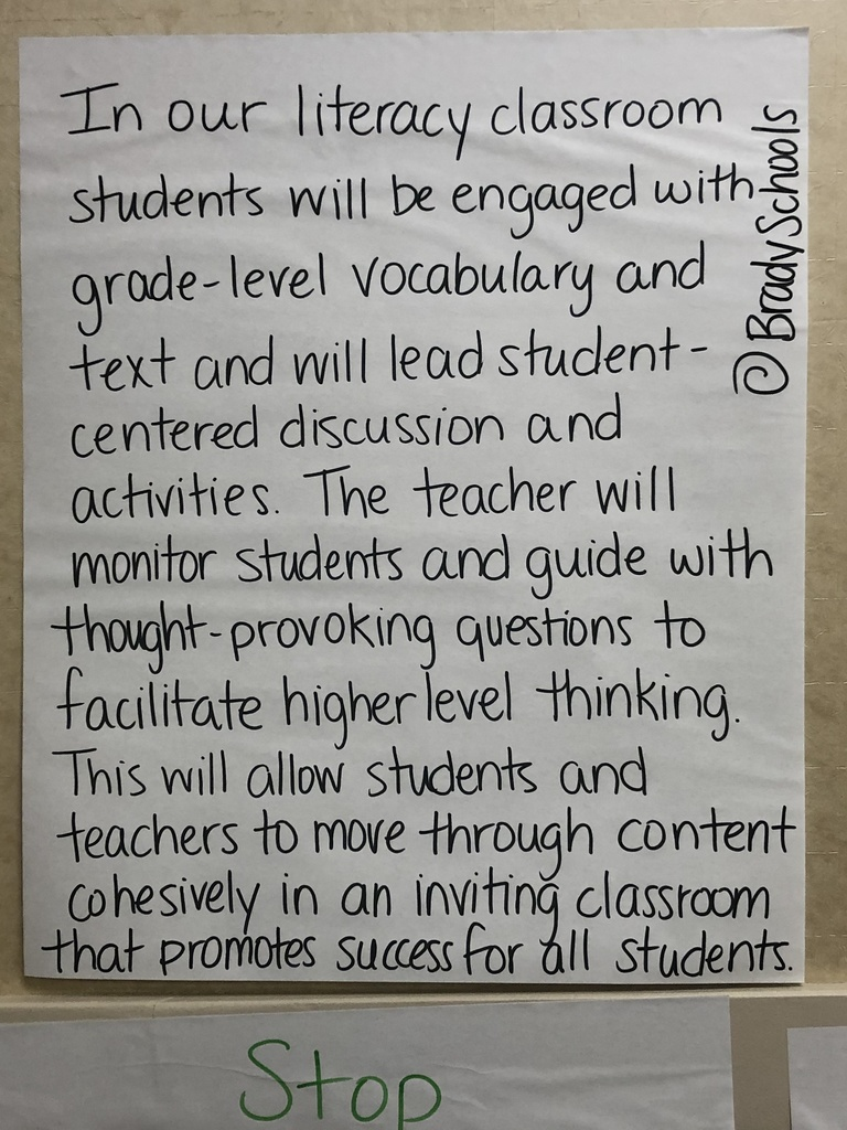 Brady's vision statement for ELA materials.