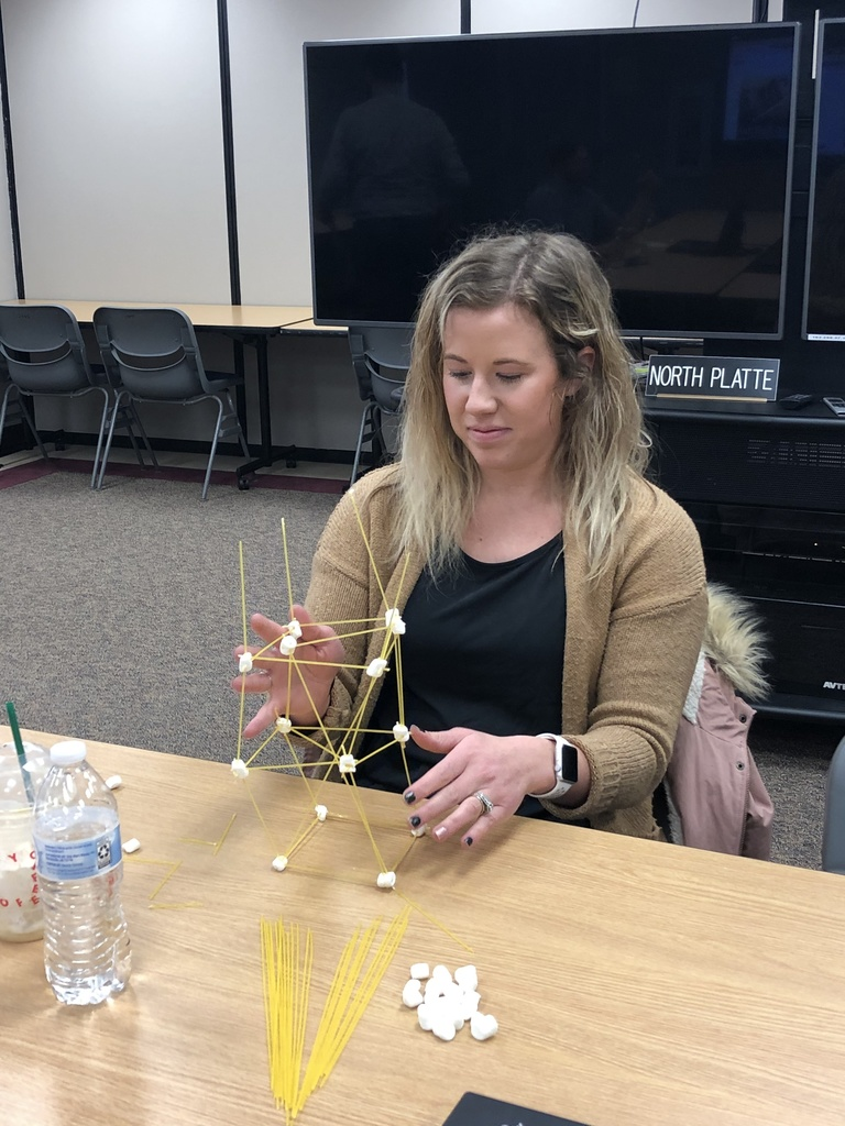 Teacher building with spaghetti and marshmallows