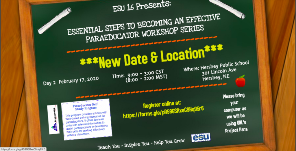ESU 16 Paraprofessional Workshop