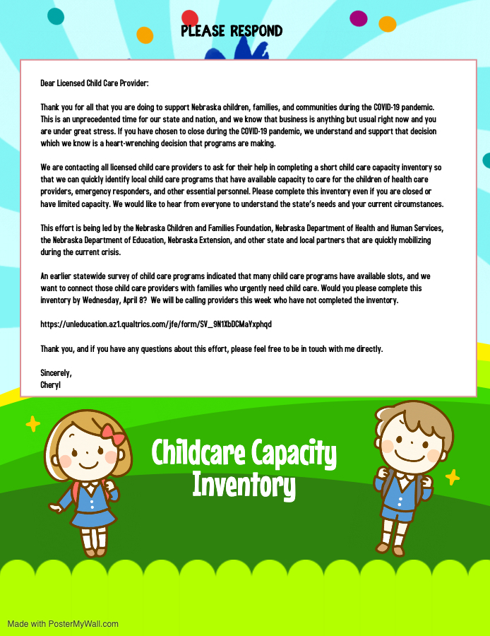Childcare Capacity Inventory request letter