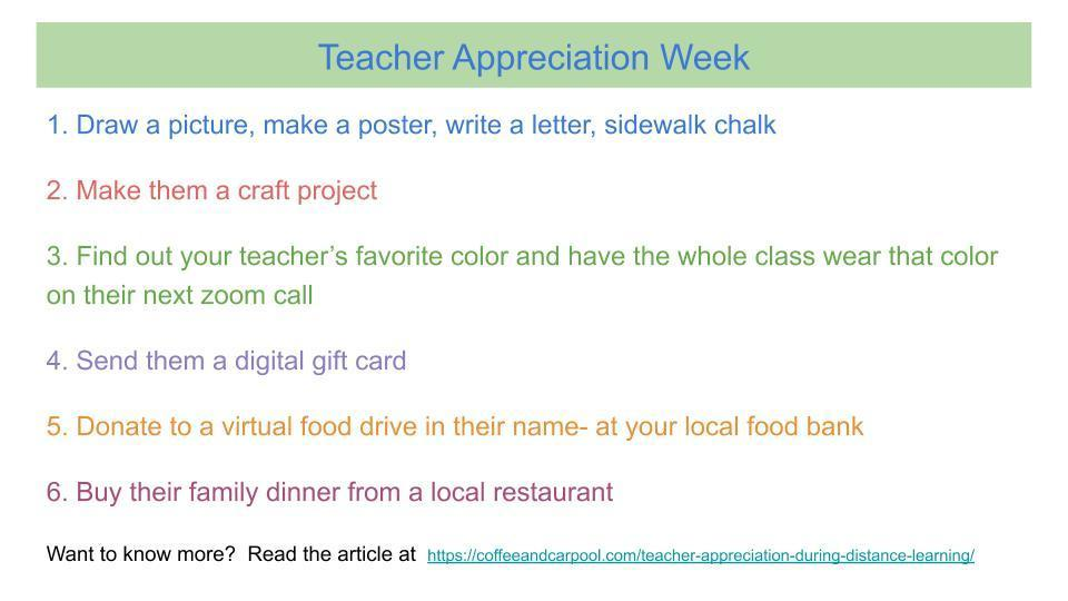 Ways to show appreciation to teachers during Teacher Appreciation Week